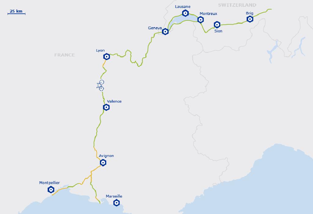 Carte de l'EuroVelo 17 - Europe | du Valais Suisse à la Mediterranée au sud de la France