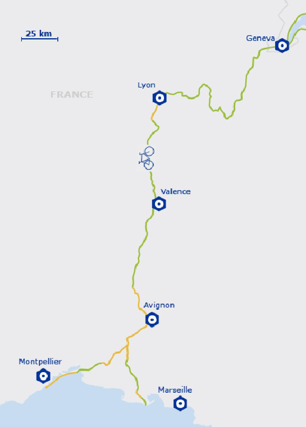 Carte de l'EuroVelo 17 - France | de Vienne à la Camargue ou Sète