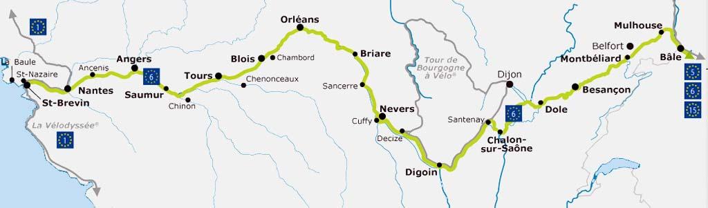 EuroVelo 6 Map - France | Saint-Nazaire to Mulhouse