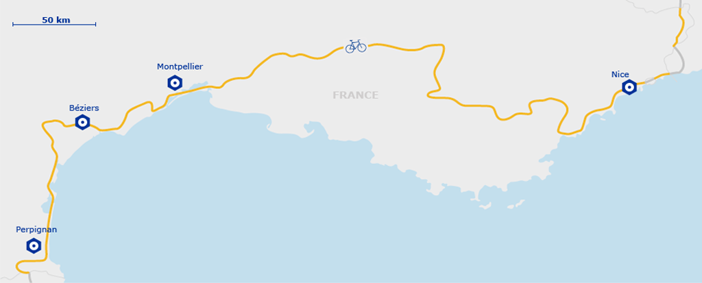 EuroVelo 8 Map - France | Perpignan to Nice