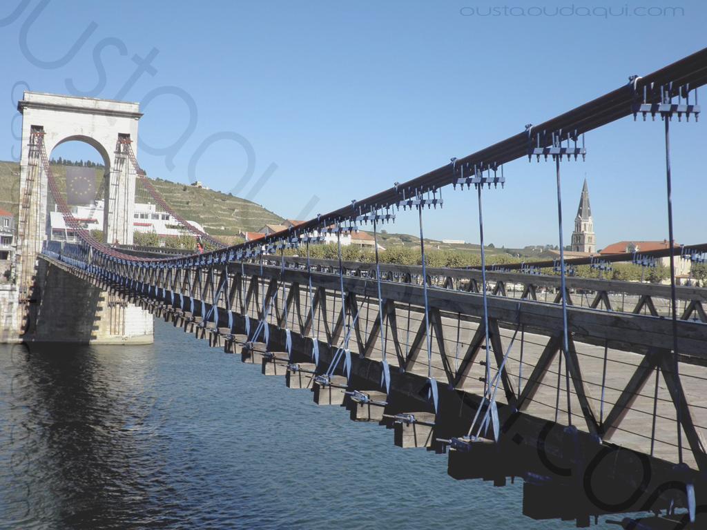 picture taken along the  EuroVelo 17: Marc Seguin footbridge between Tournon and Tain l'Hermitage, France