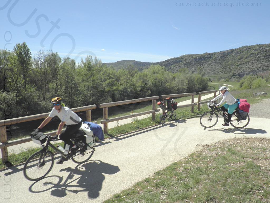 photographie prise le long de l' EuroVelo 17:  cyclos sur le superbe tronçon de la ViaRhôna près du Pouzin en Ardèche