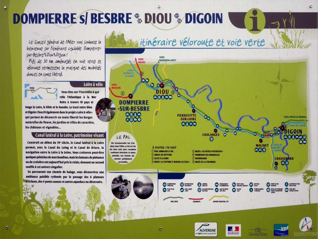 picture taken along the  EuroVelo 6: La Loire à Vélo bicycle route sign section Dompierre-sur-Besbre,Diou and Digoin, France