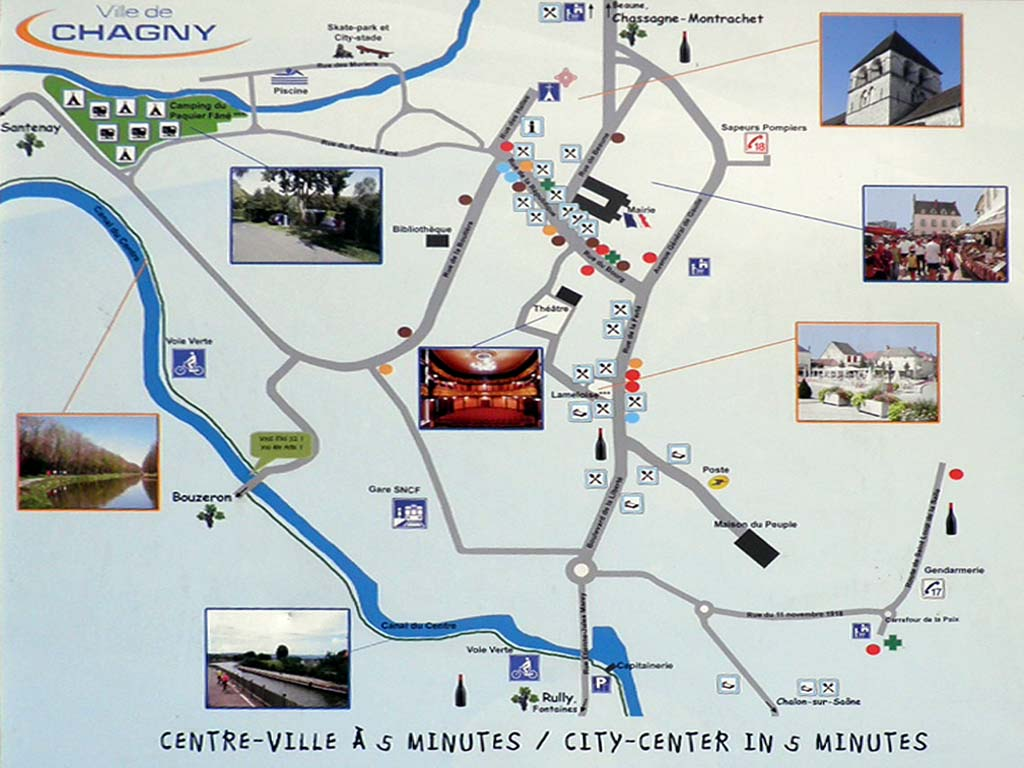 picture taken along the  EuroVelo 6: sign showing the map of the town of Chagny 71150, France