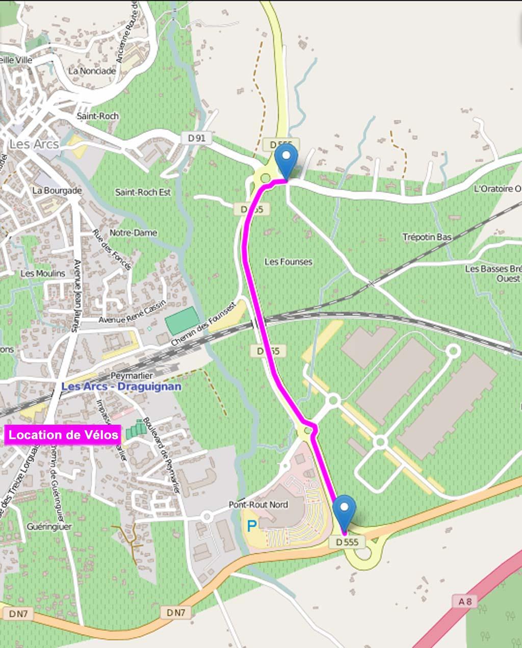 roadmap n7 les arcs vigne v lo les arcs sainte roseline cliquer pour agrandir dans un. Black Bedroom Furniture Sets. Home Design Ideas